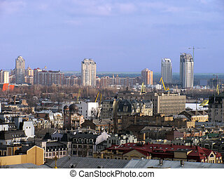 district of Kiev (Podol) at winter morning...