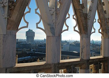 Panoramic view of Milan and Velasca Tower from the roof of...