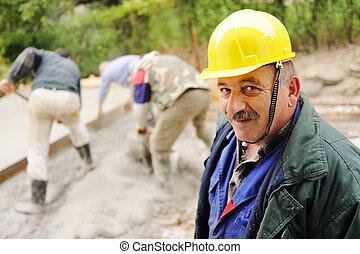 anciano, menager, Lugar de trabajo, trabajadores, fresco,...