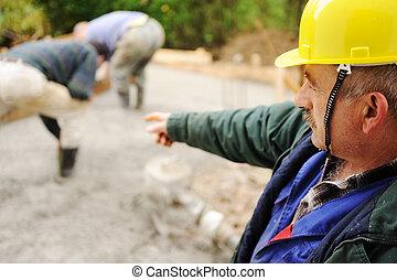 trabajadores, anciano, Concreto, Lugar de trabajo, menager,...