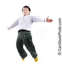 Adorable child jumping a over white background - Adorable...