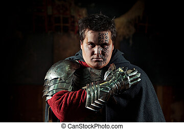 Medieval knight - Powerful knight in the armor and iron...