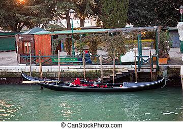 Gondola at servizio gondole station in Venice, Italy