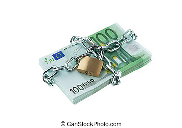 Euro bank notes with a lock and chain.
