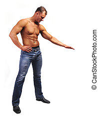 Macho musculature man with a copy space box isolated on...