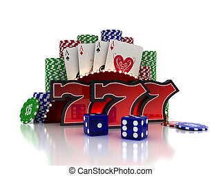 Casino Concept - Lucky Sevens with cards and dice over white...