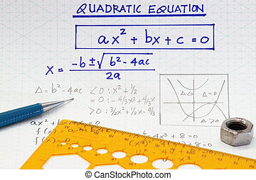 quadratic equations - open workbook page with algebraic...
