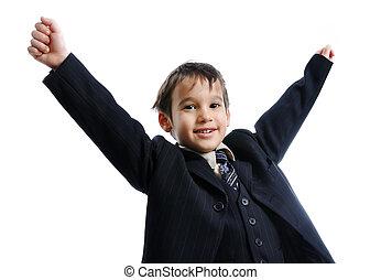 Porter, mignon, peu, Business, reussite, cravate, célébrer,...