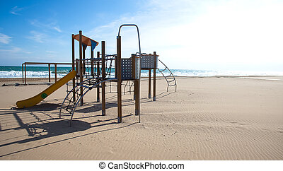 swing on the beach - swing recreation on the beach on sunny...