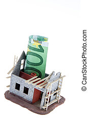 Body shop home. Financed with ? banknotes - A shell house....