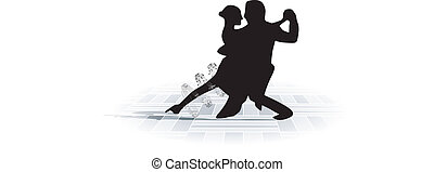 Tango59jpg - illustration of couple dancing with music note...