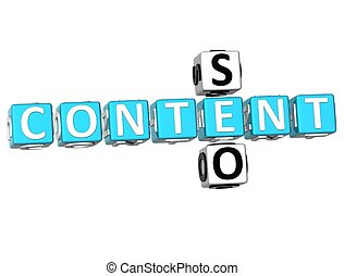 Seo Content Crossword - 3D Seo Content Crossword on white...