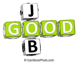Good Job Crossword - 3D Good Job Crossword on white...