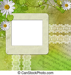 greeting card with daisies and abstracts green background -...