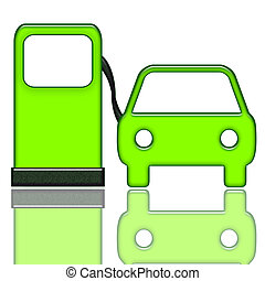 Gas Station and Car - Auto service gas station green icon...