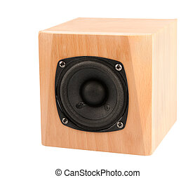 Speaker - small speaker in wooden box isolated on white