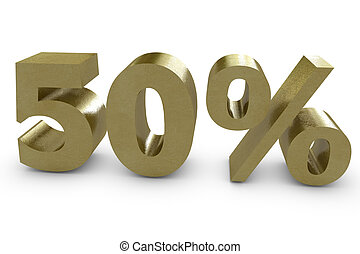 Fifty percent in 3d - gold color