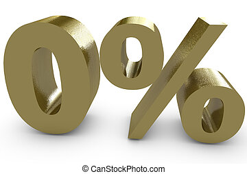 Zero percent in three dimensional - gold color