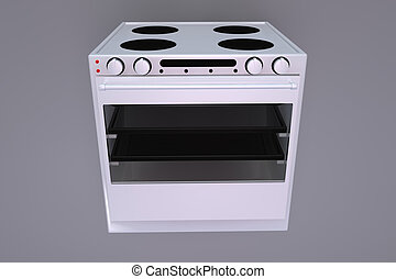 Oven - Illustration of a 3d rendered oven on grey background