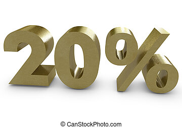 Twenty percent in 3d - gold color