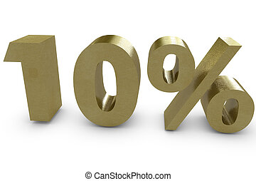 Ten percent in 3d - gold color