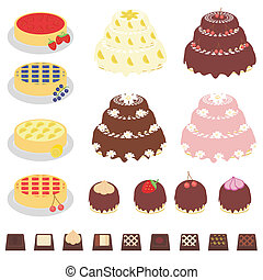 set with desserts on white background