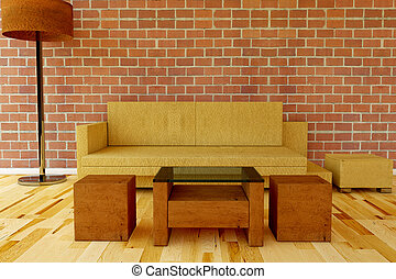 Leather Couch with table on a brick wall
