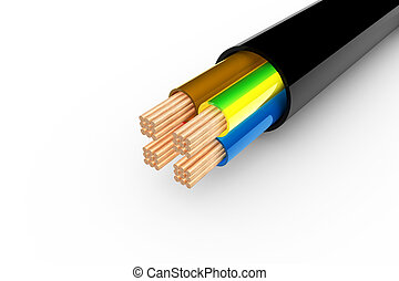 Copper cable - Close up of a copper cable in 3d
