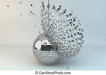 Disco ball exploding in 3d