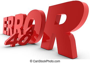 Error 404 letter on white