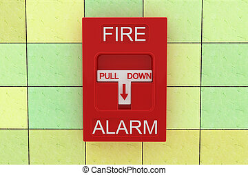 Fire alarm - 3d fire alarm on tile wall