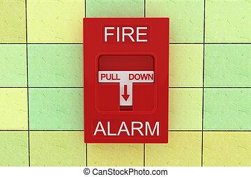 Fire alarm - 3d fire alarm on tile wall