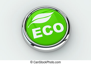 Eco push button - Green eco push button with leaf