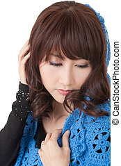Lonely woman expression, closeup portrait of Asian beauty on...