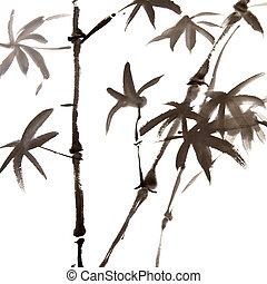 painting - Chinese traditional ink painting of bamboo on...