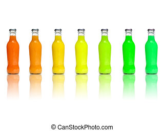 juice bottles - some juice bottles of different colors on a...