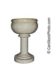 baptismal font - a stone baptismal font on a white...