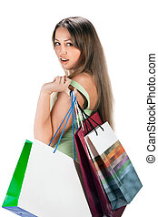 Shopping. beautiful girl with bag isolated on white...