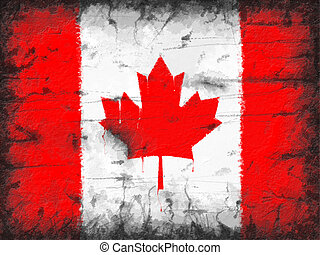 Flag of Canada painted on old wall