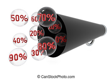 Percentage - Different percentage with antique megaphone