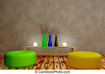 3d armchair - 3d room with sphere light and vase
