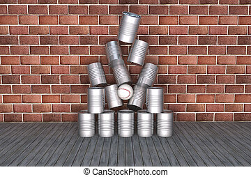 Tin can to fall over - Three dimensional tin can to fall...