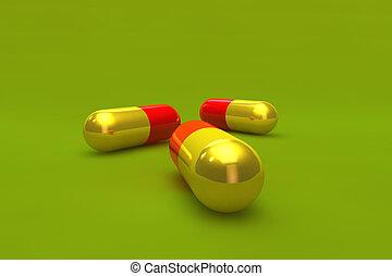 Golden capsules