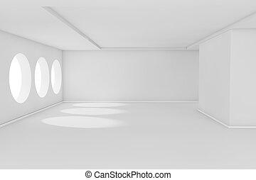branca, vazio, sala
