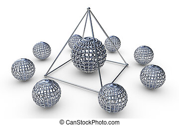 Molecular structure rendered pyramid in 3D with spheres