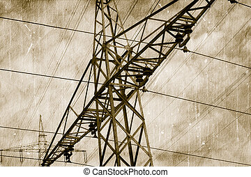 High voltage power lines - High voltage lines on old picture...