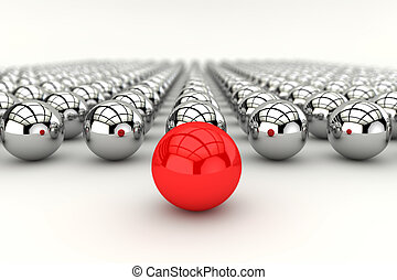 Leadership concept in 3d - Leadership concept with red...