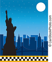 New York - A border or frame featuring the New York skyline...