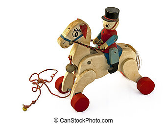 old wooden play tool - wooden horse old play tool for kids
