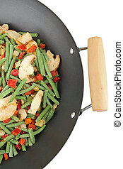 wok and vegetable - vegetable on white background
